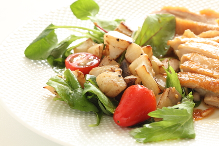 Chinese food, soy sauce chicken and lotus root stir fried Stock Photo - 114056256