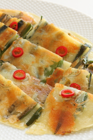 Korean food, spring onion and chili pepper pan cake