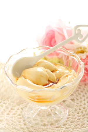 Caramel and pudding with flower 写真素材