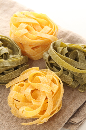 Fettuccine  on linen cloth Stock Photo