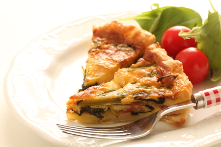 Homemade bacon and spinach quiche