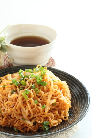 Chinese fried noodle and tea