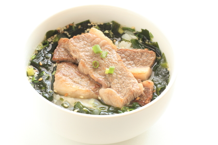Korean food, barbecue beef and seaweed soup rice