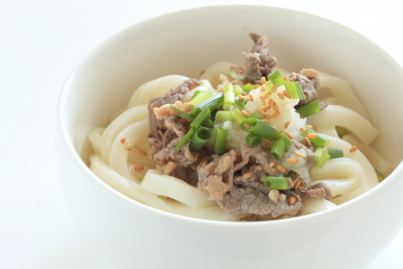 Beef and cold udon noodles 스톡 콘텐츠