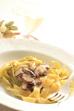 Mushroom and cream cheese fettuccine Stock Photo