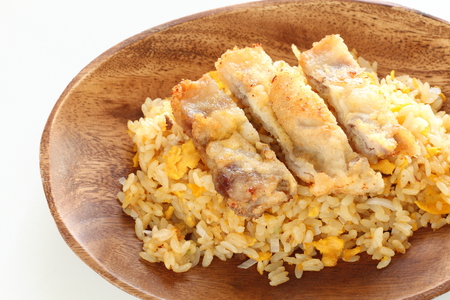 Chinese food, roasted pork fried rice and cutlet Stock fotó