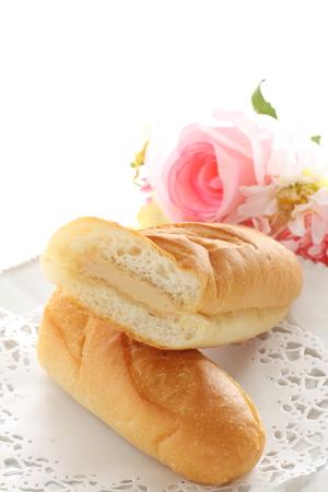 Japanese school food, peanut butter cream and bun sandwich Stock fotó