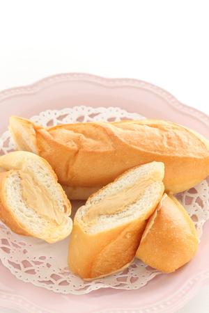 Peanut butter cream bun Stock fotó