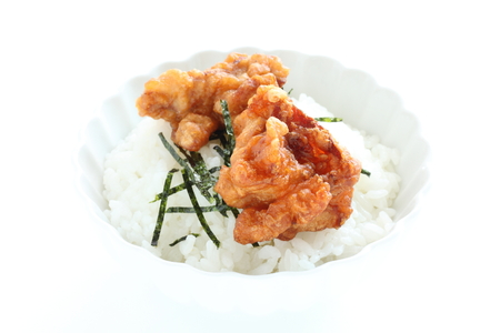Japanese fried chicken and seaweed on rice