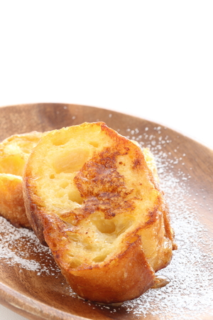 Homemade French toast with honey and sugar