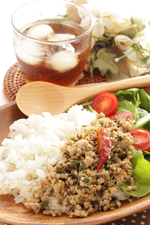 Mince chicken and rice for ethnic cuisine, Thai food