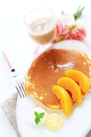 Peach pan cake and tea Stock Photo