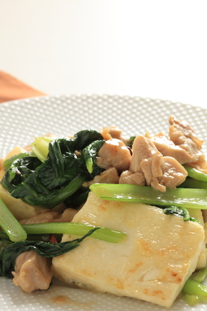 Chinese food, spinach and pork tofu stir fried 版權商用圖片