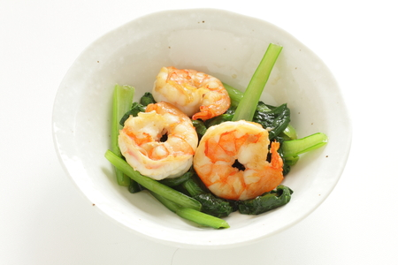 Chinese food, spinach and prawn stir fried