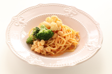 Italian food, mentaiko and Cauliflower spaghetti