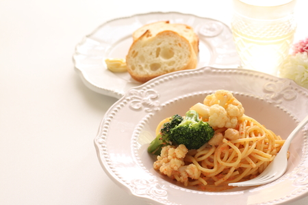 Cauliflower and Mentaiko spaghetti Stock Photo