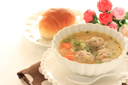 Meat ball and vegetable soup