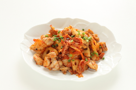 Chicken and lotus root stir fried with Korean kimchi 版權商用圖片