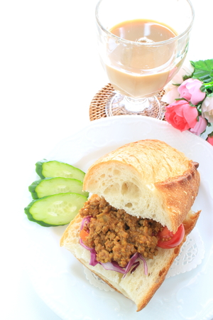 Milk tea and Keema curry sandwich