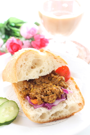 Homemade Keema Curry and France bread sandwich