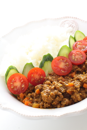 Keema curry served with rice Stock Photo