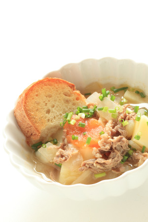 Italian Food, beef minestrone soup and bread
