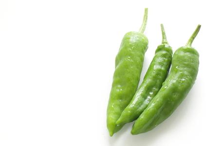Japanese green chili pepper on white 版權商用圖片