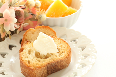 Mascarpone cheese on toasted French bread Stock Photo