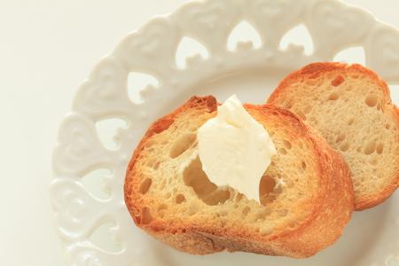 Mascarpone cheese on toasted French bread 版權商用圖片