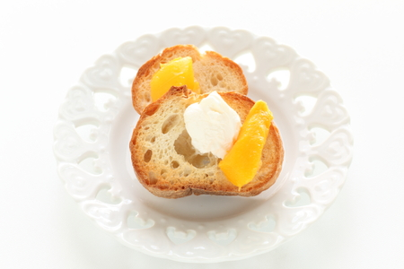 Mascarpone cheese and Mango on toasted French bread