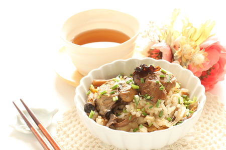 Smoked oyster mixed rice for Japanese 版權商用圖片