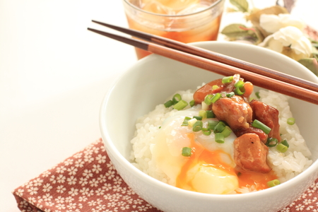 Canned food, Japanese grilled chicken Yakitori and rice on rice