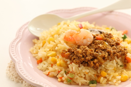 Chinese food, mushroom and shrimp fried rice Stock Photo