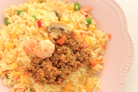 Curry and fried rice for asian food image