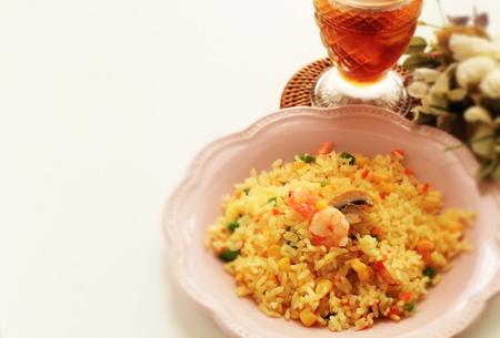 Chinese food, mushroom and shrimp fried rice 版權商用圖片