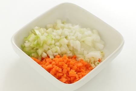 Chopped carrot and celery with onion