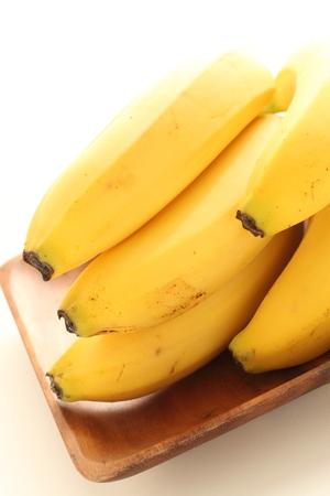 Freshness banana on wooden plate