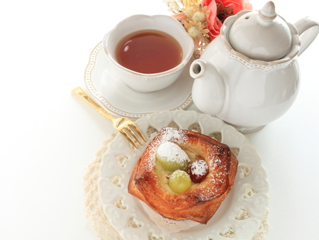 grape and muscat Danish pastry and tea