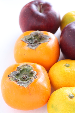 Japanese Persimmon and apple for autumn fruit image