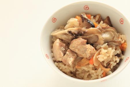 Japanese food, chicken and Maitake mushroom rice Banco de Imagens