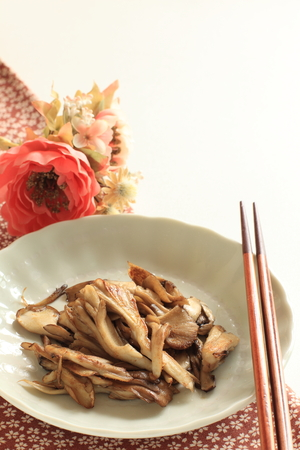 Maitake mushroom stir fried on dish for vegetarian food image