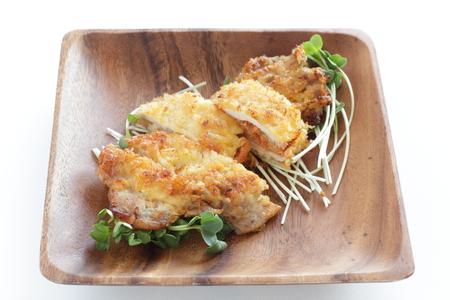 Japanese food, cutlet on wooden plate
