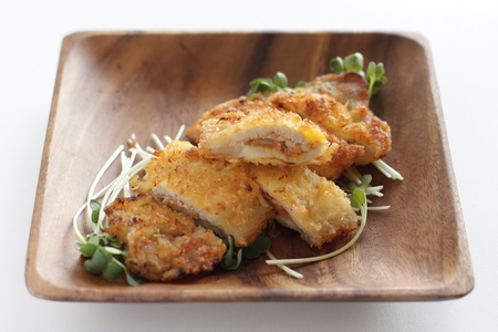 Japanese food, chopped pork cutlet on wooden plate Stock Photo