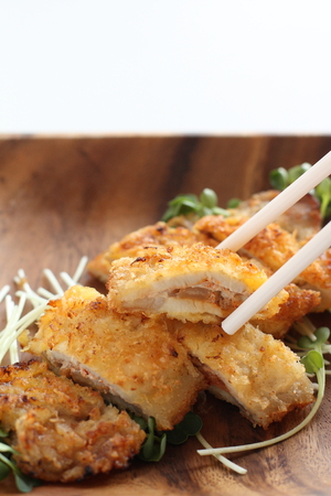 Japanese food, Tonkasu pork cutlet Фото со стока