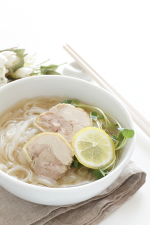 Vietnamese food, chicken and rice noodles Stock Photo
