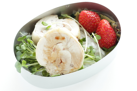 Chicken and sprount with strawberry bento