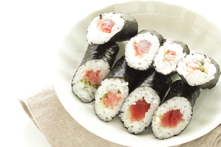 Japanese food, tuna fish rice sushi roll