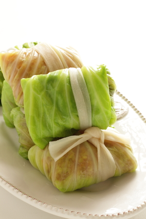 Prepared mince pork stuffed cabbage for Russian food image