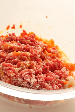 Mince pork and pork mixed with egg for cooking image Stock Photo