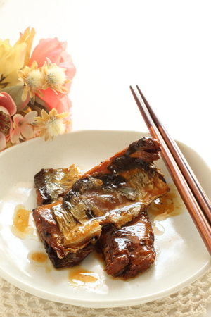 Japanese canned food, simmered Pacific Saury
